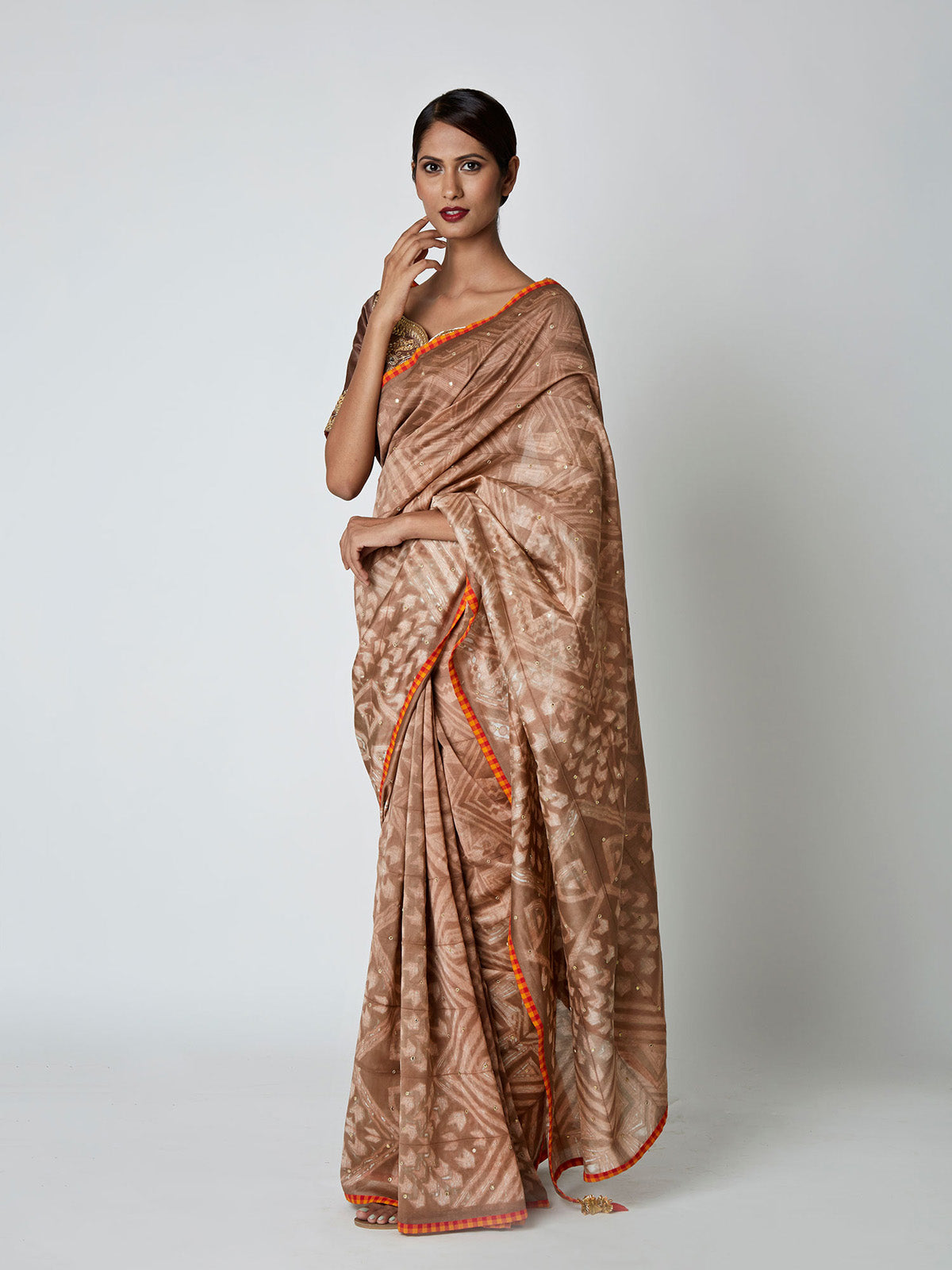 BROWN SHIBORI CHANDERI SAREE WITH EMBROIDERED BLOUSE