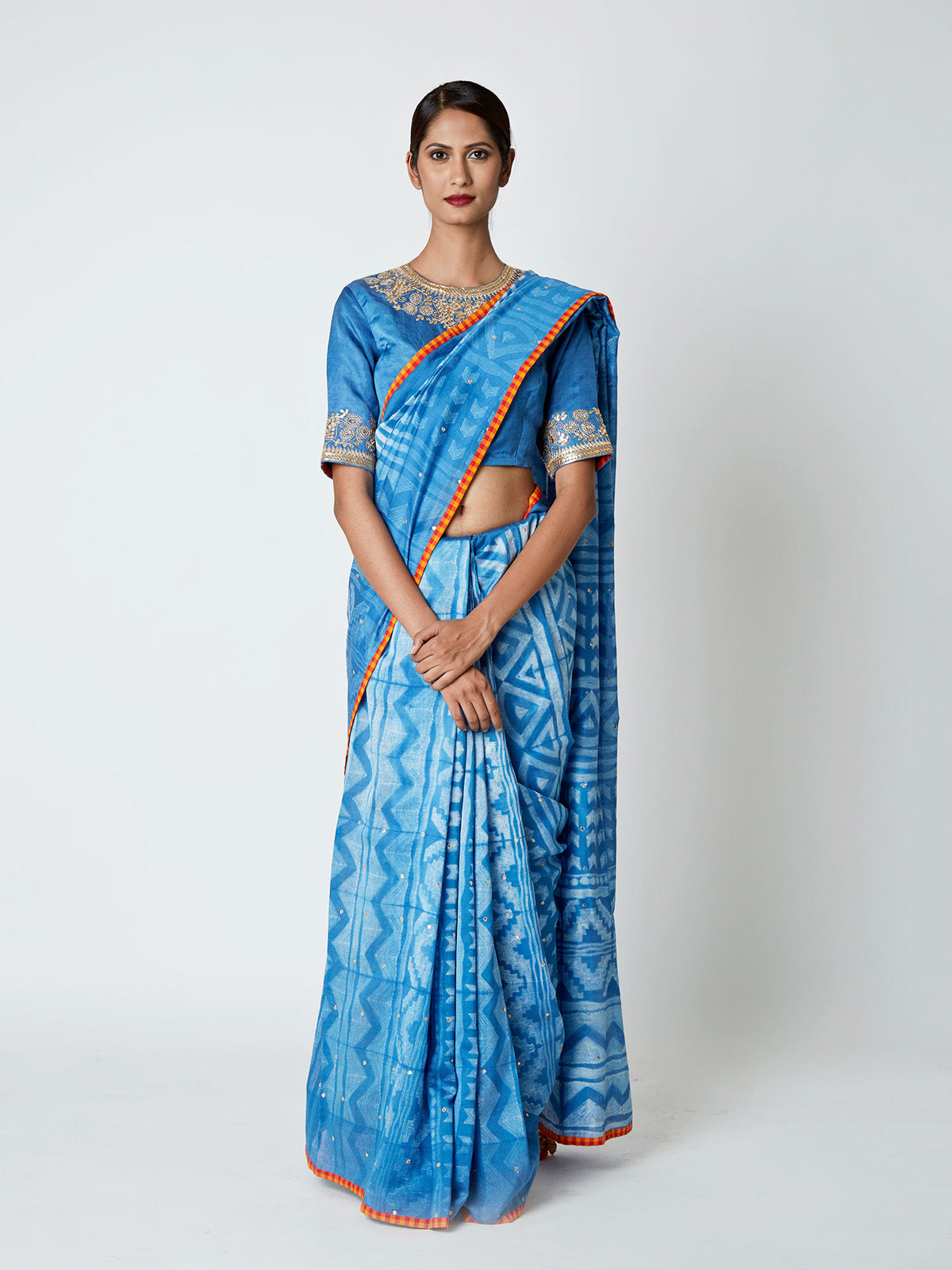 BLUE SHIBORI CHANDERI SAREE WITH EMBROIDERED BLOUSE