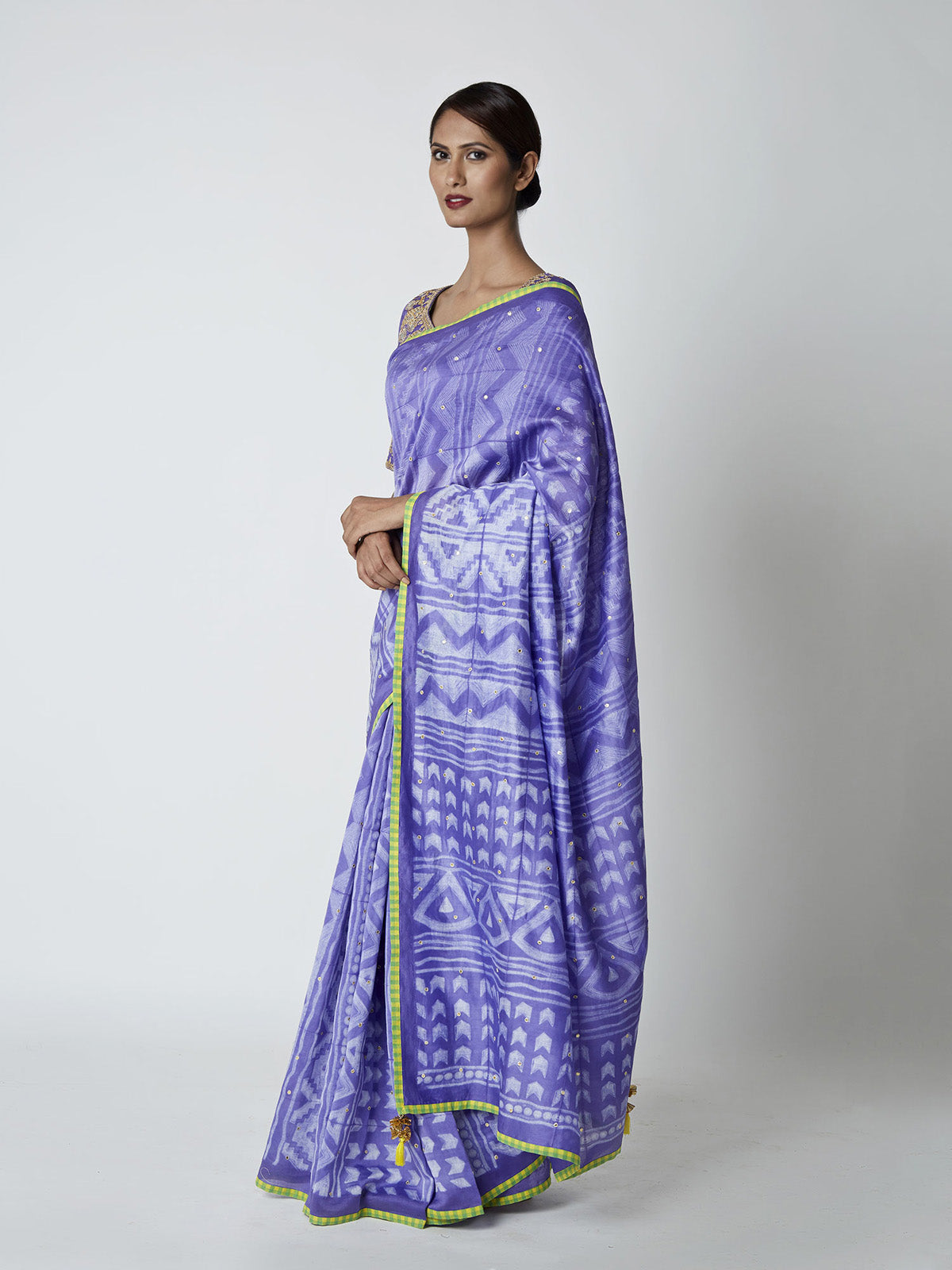 PURPLE BLUE SHIBORI CHANDERI SAREE WITH EMBROIDDERED BLOUSE