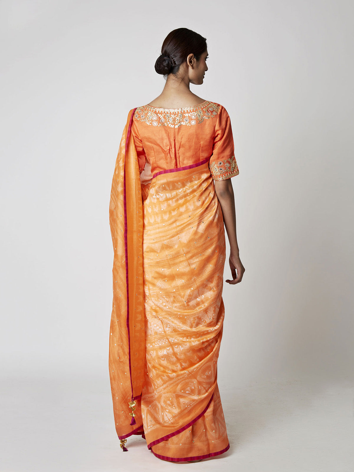 ORANGE SHIBORI CHANDERI SAREE WITH EMBROIDERED BLOUSE