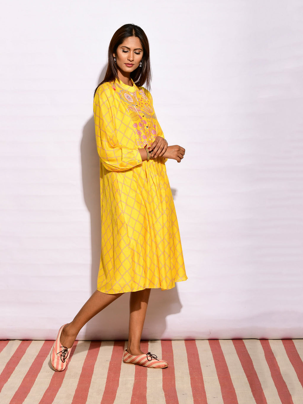IN BLOOM PRINTED YOKE YELLOW  DRESS
