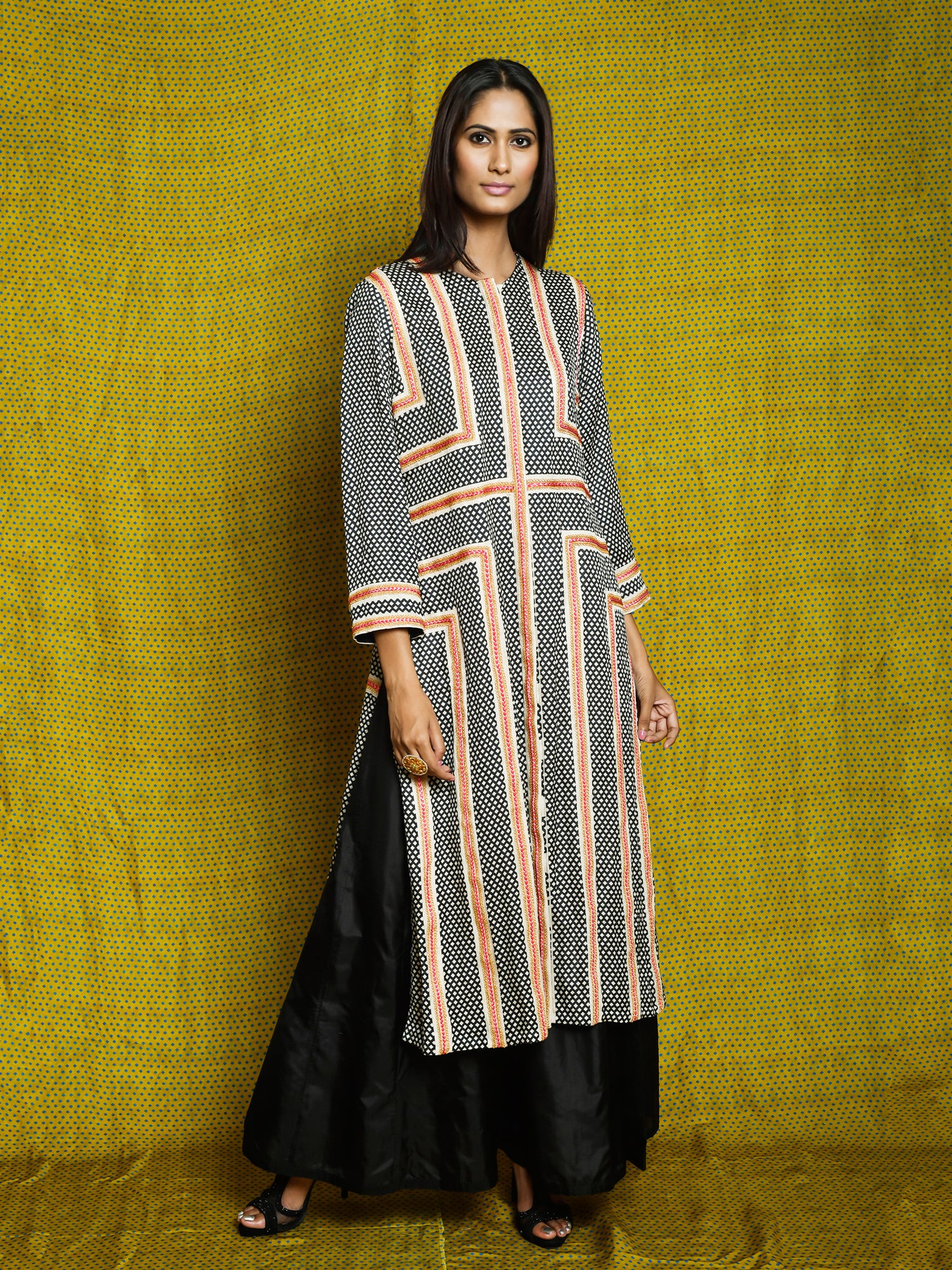Monochrome Braid Kurta Set