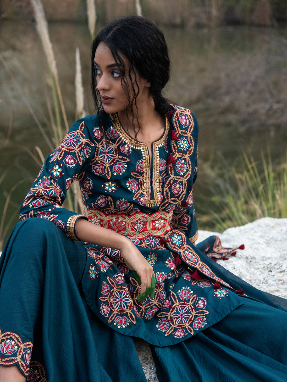 KAMAL SHORT EMBROIDERED  KURTA WITH SHARARA AND DUPATTA