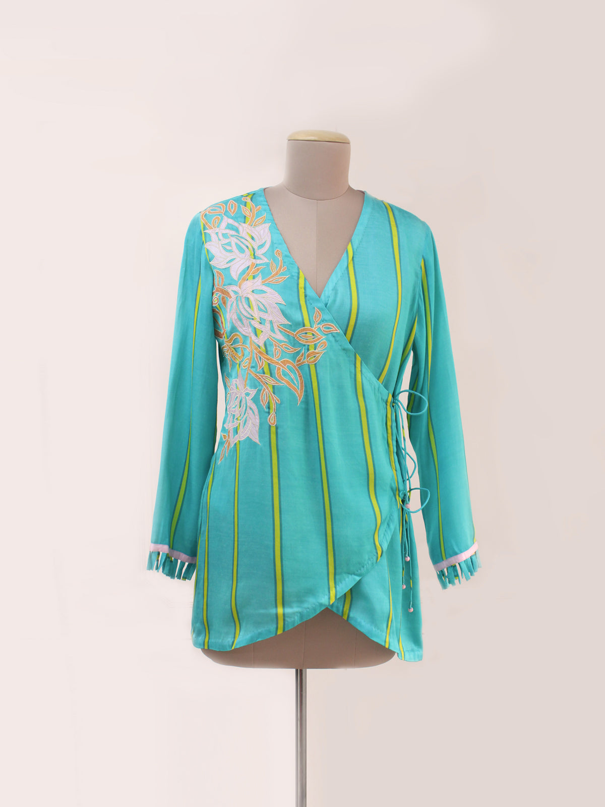 TURQUOISE FESTIVE STRIPES APPLIQUE WRAP TOP