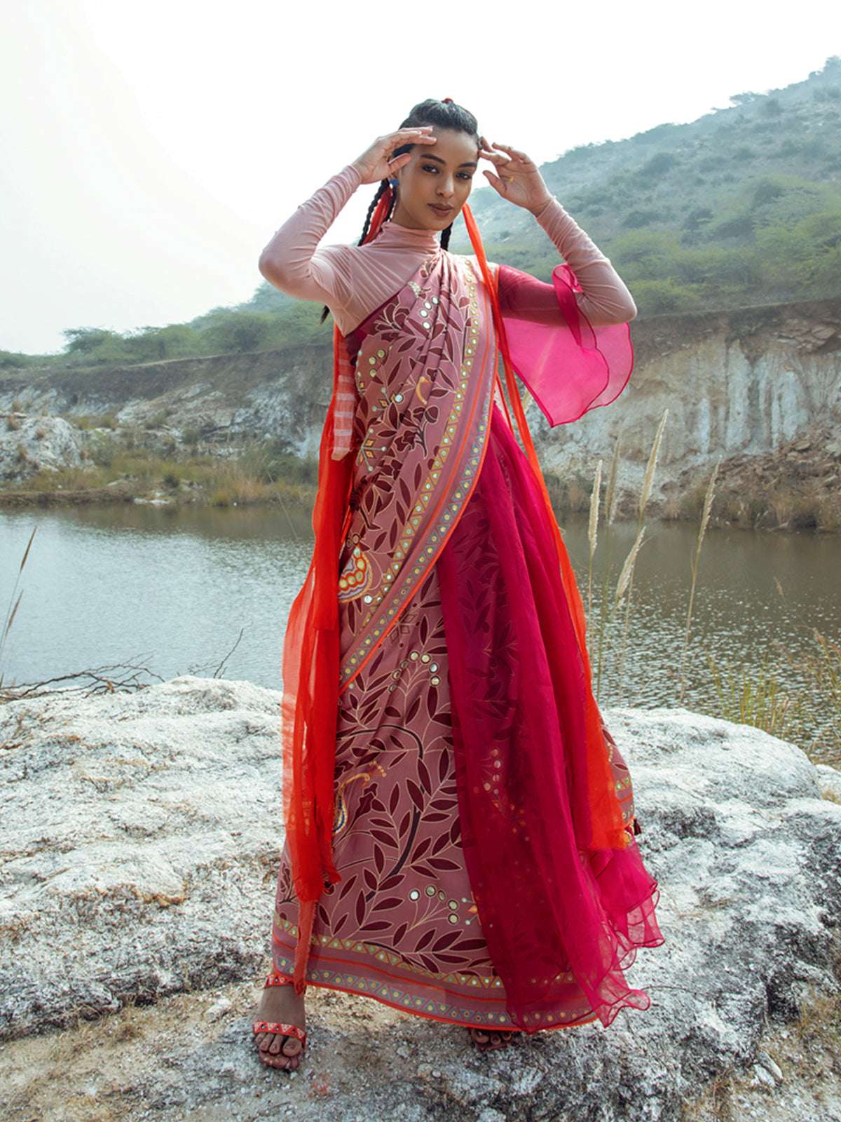 MORBAGH ROSE PINK PEACOCK SAREE WITH BLOUSE