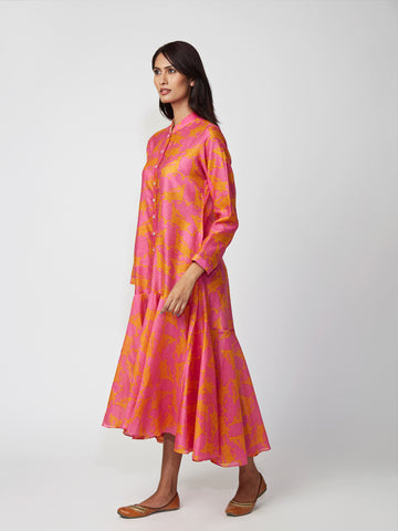 Pink Bundi Chanderi Asymmetrical Dress