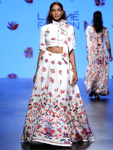 Love For Stripes Printed Crop Top Lehenga Set