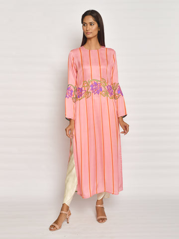 pink, kurta, tunic, stripes, embroidered, applique, indianwear, indiantunics, tunicsets, kurtasets, swativijaivargie
