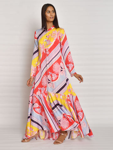 BUNDI SCARLET DIAGONAL PRINT JACKET WITH DRESS