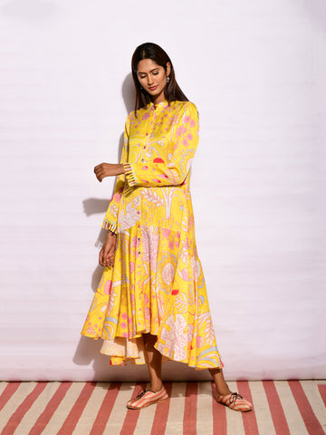 In Bloom Yellow Printed Jacket Dress