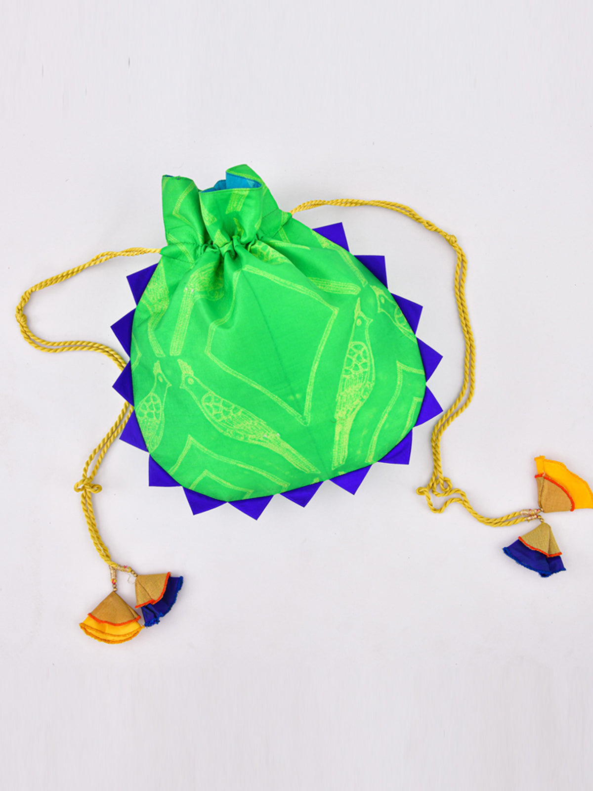 GREEN SHIBORI POTLI BAG