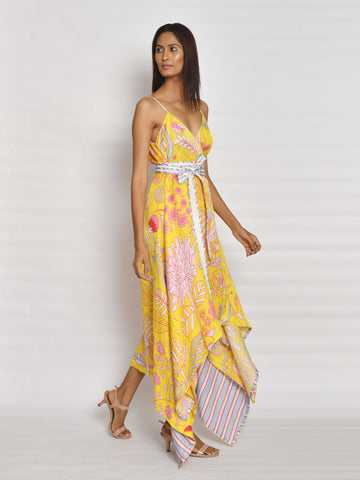 In Bloom Yellow High Low Dress