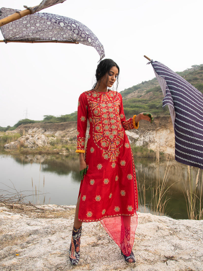 MORBAGH RED heavy embroidered yoke kurta set