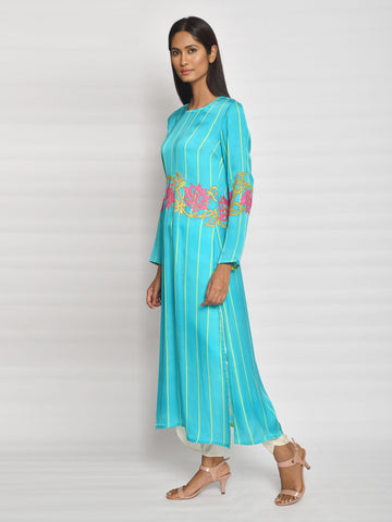 In Bloom Aqua Stripe Drape Tunic