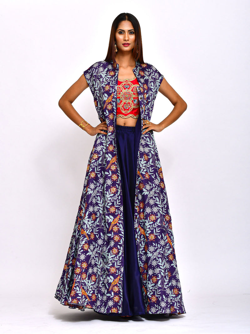 MORBAGH EMBROIDERED JACKET WITH CROP TOP AND LEHENGA