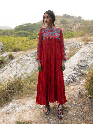 MORBAGH RED tota crushed dress