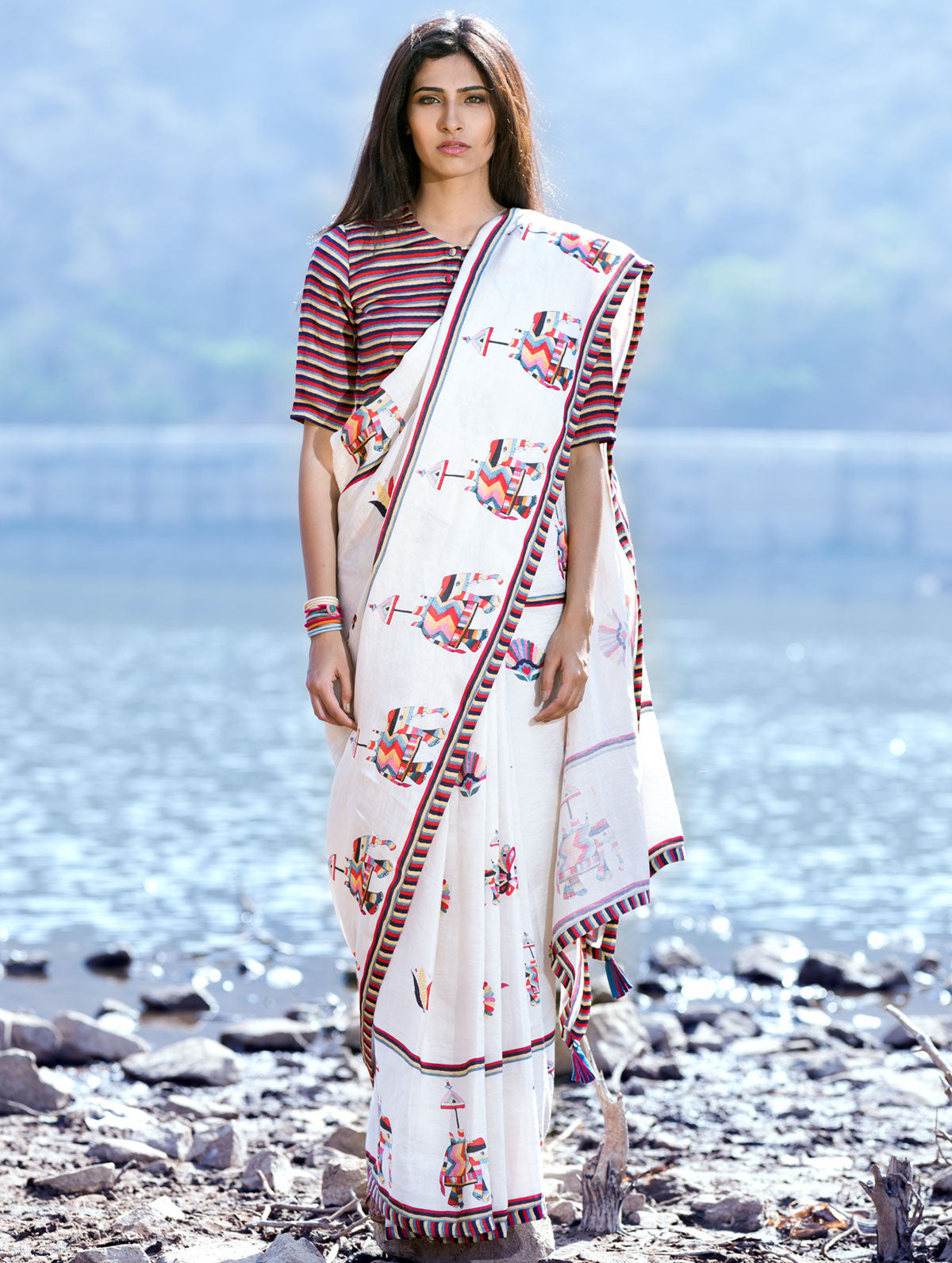 Love For Stripes Crop Top And Printed Saree