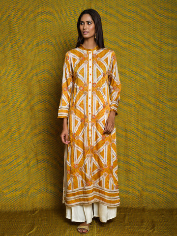 Mustard Embroidered Kurta Set