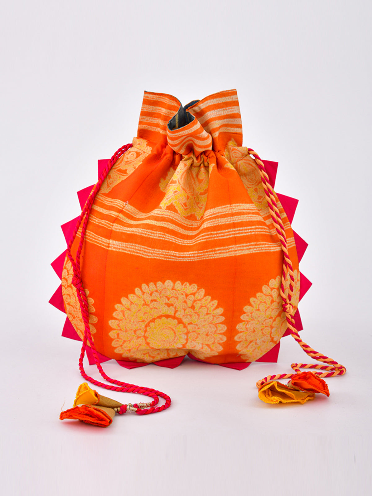 ORANGE SHIBORI POTLI BAG