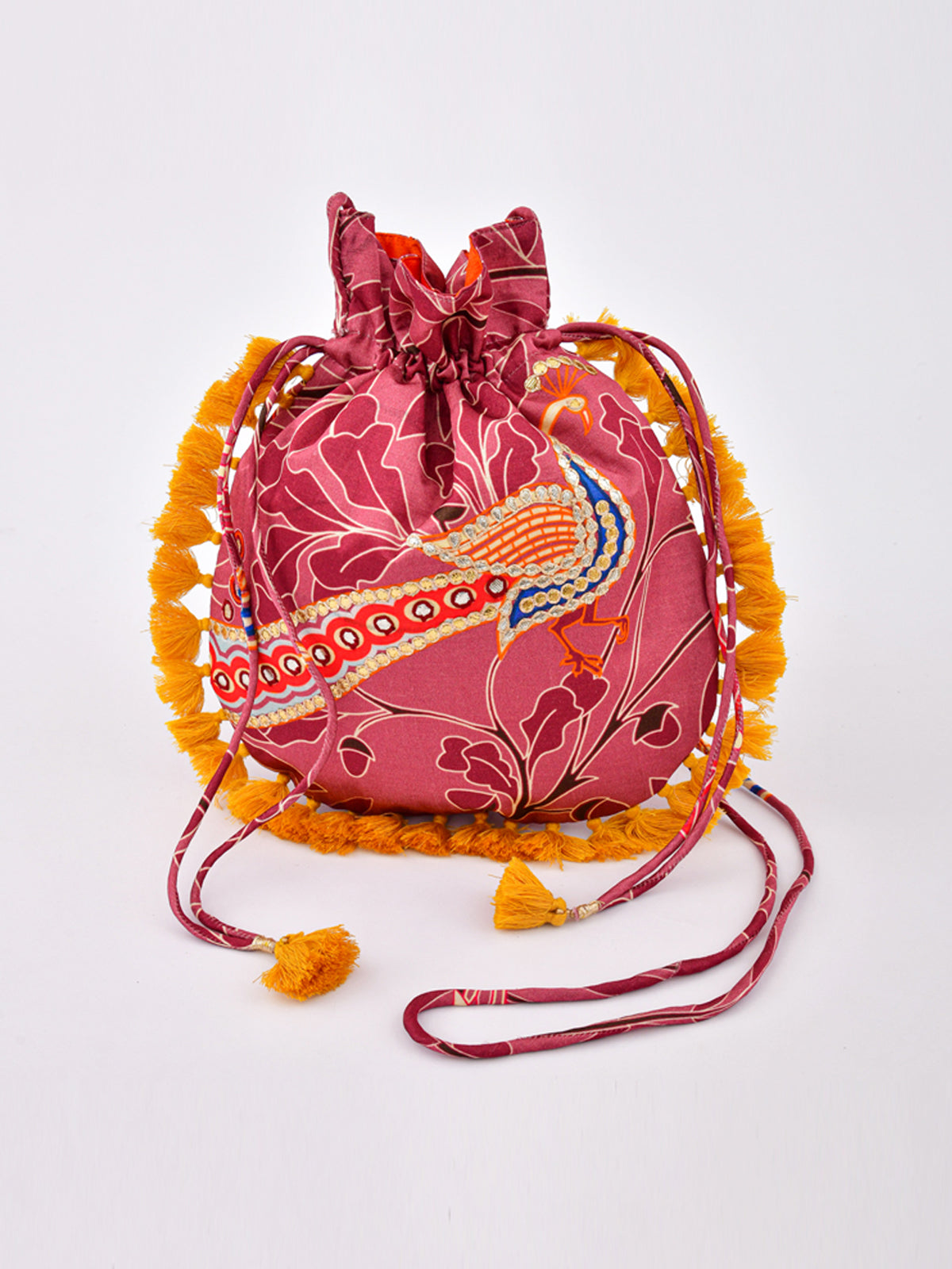 MORBAGH PEACOCK ROSE PINK EMBRODERED POTLI BAG WITH TASSELS