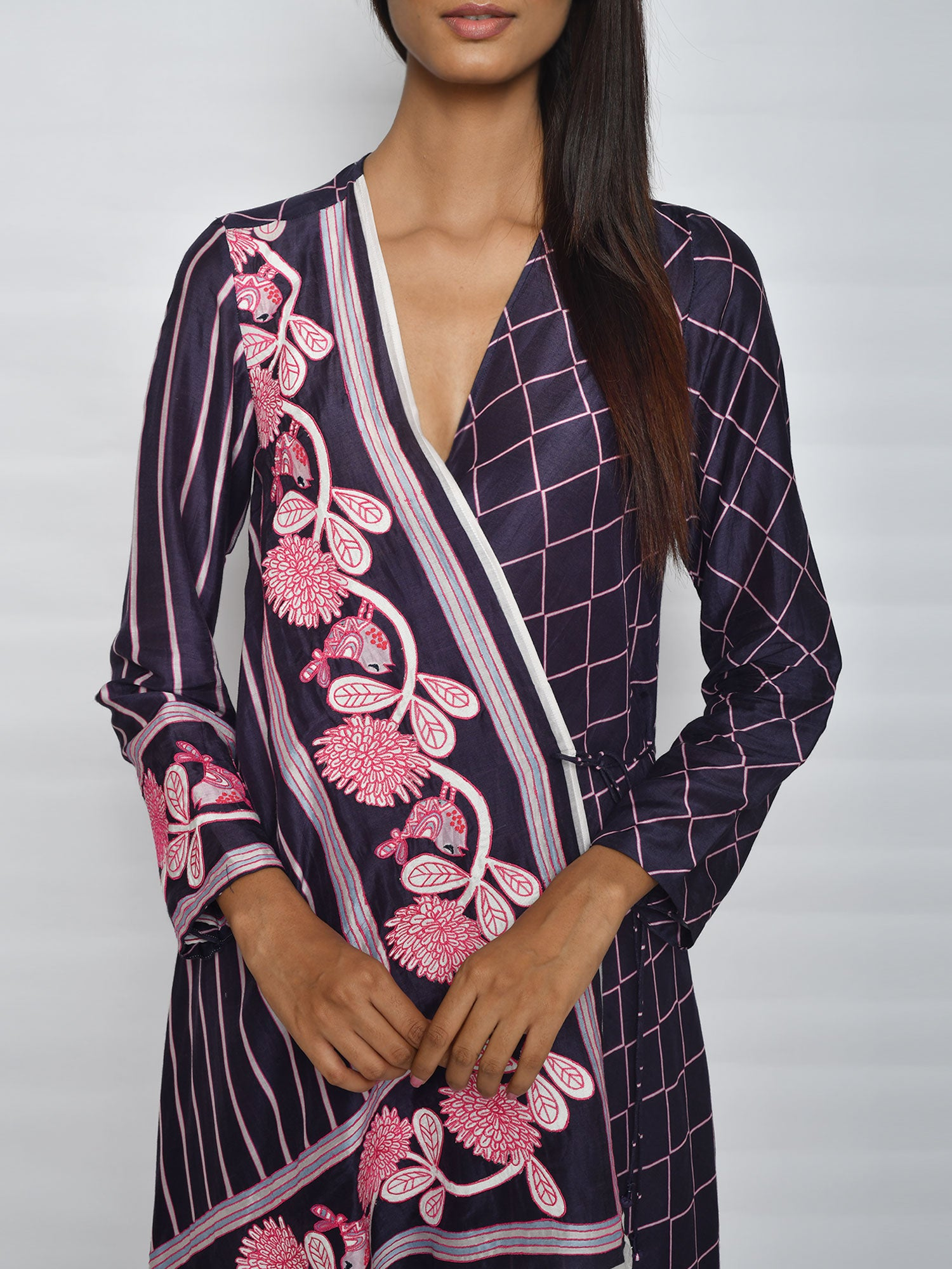 In Bloom Navy Stripe Wrap Tunic