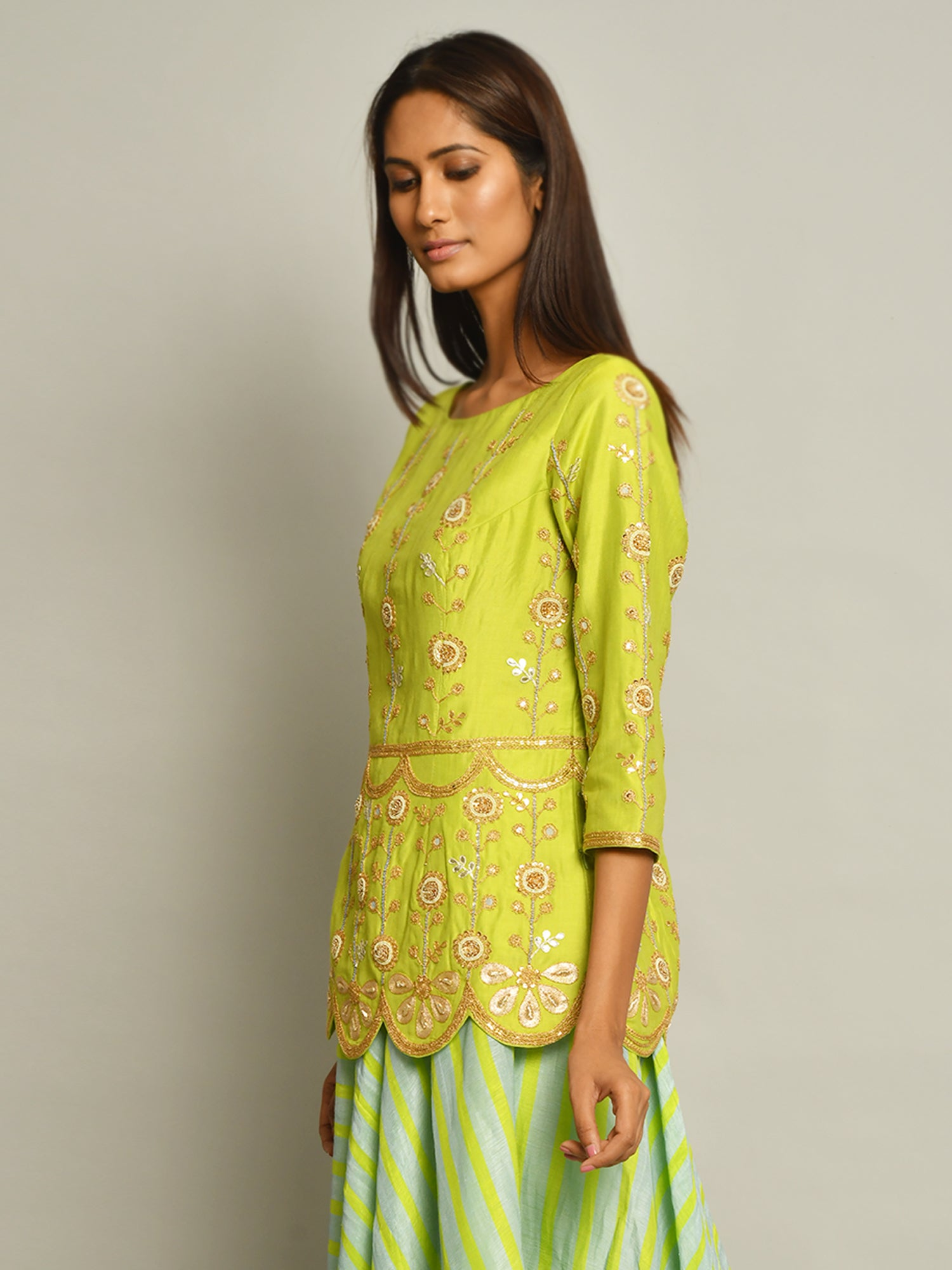 Lime Green Embroidered Top And Asymmetrical Skirt