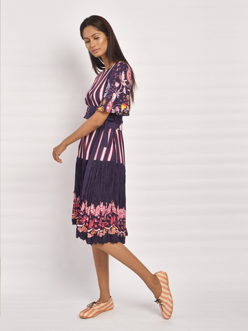 In Bloom Navy Printed Yoke Dress