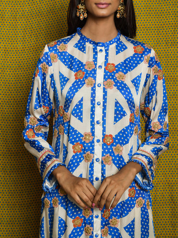 Vintage Garden Cobalt Embroidered Kurta Set