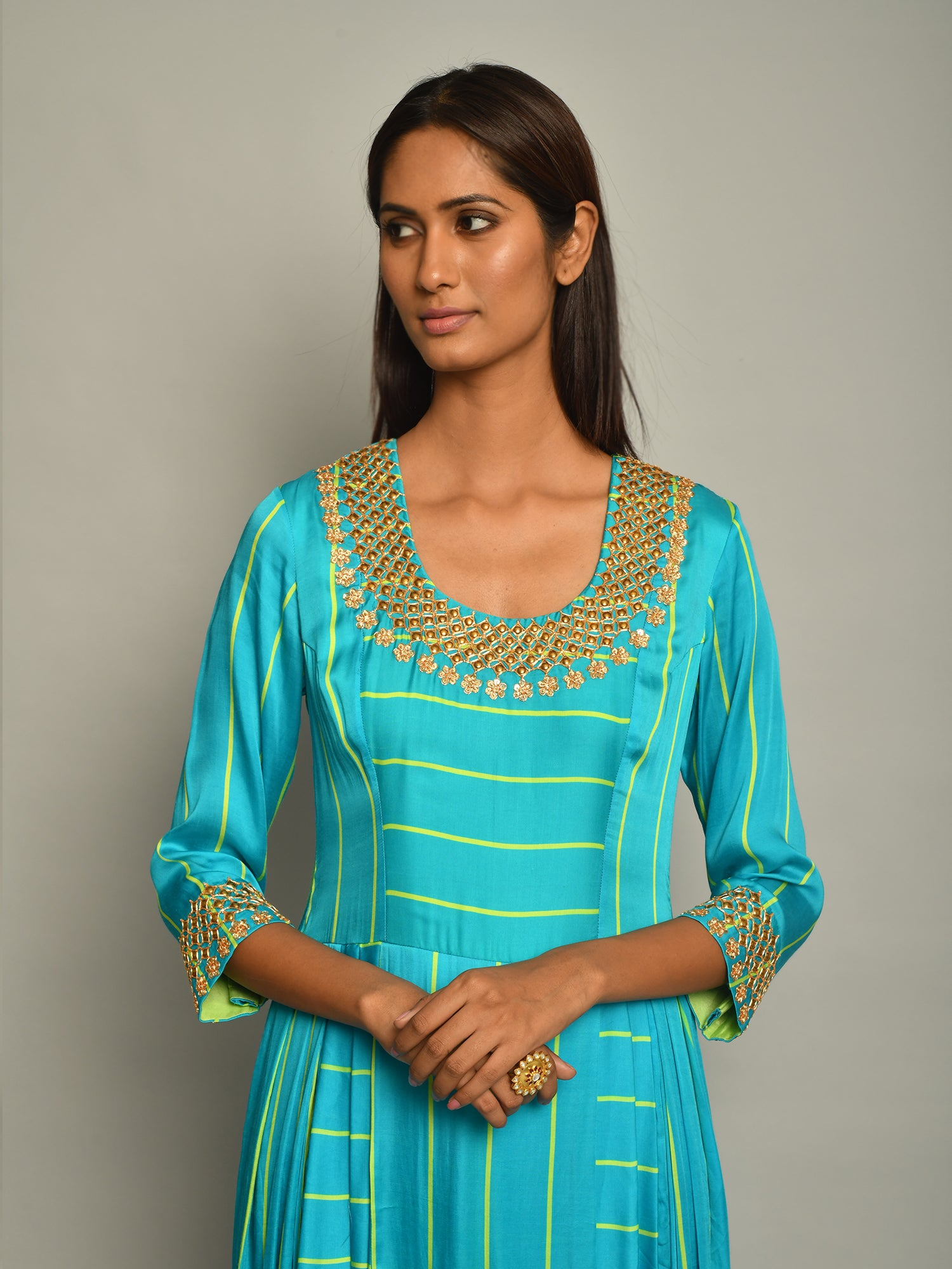 TURQUOISE STRIPE DHOTI DRESS