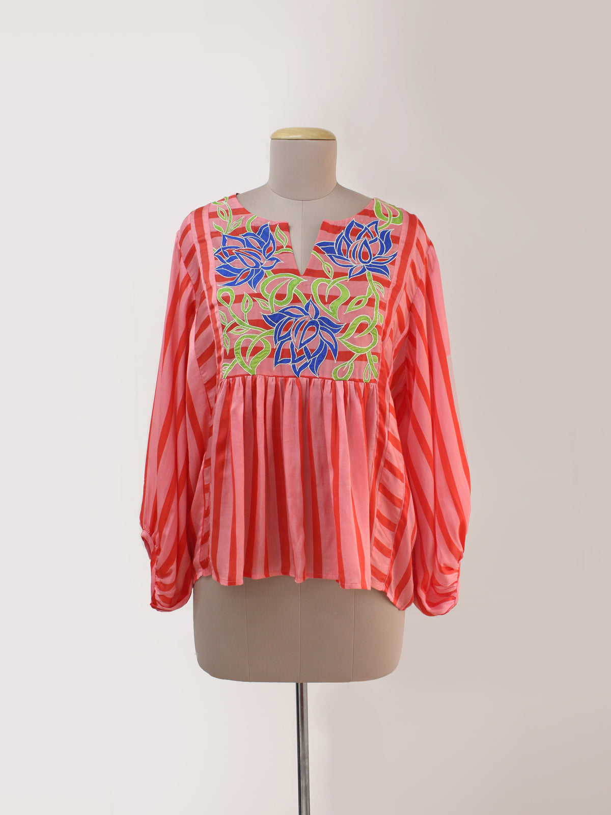 RED BLUSH STRIPED APPLIQUED TOP