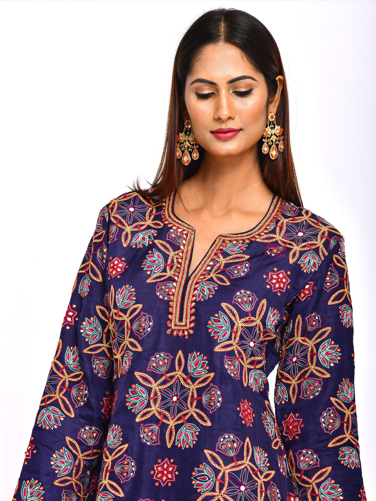 KAMAL EMB. SHORT KURTA WITH SKIRT AND DUPATTA