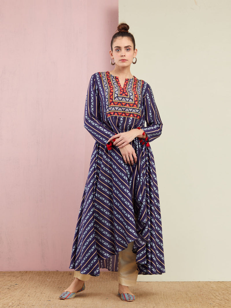 NAVY BLUE TRIBAL STRIPES ASYMMETRICAL KURTA