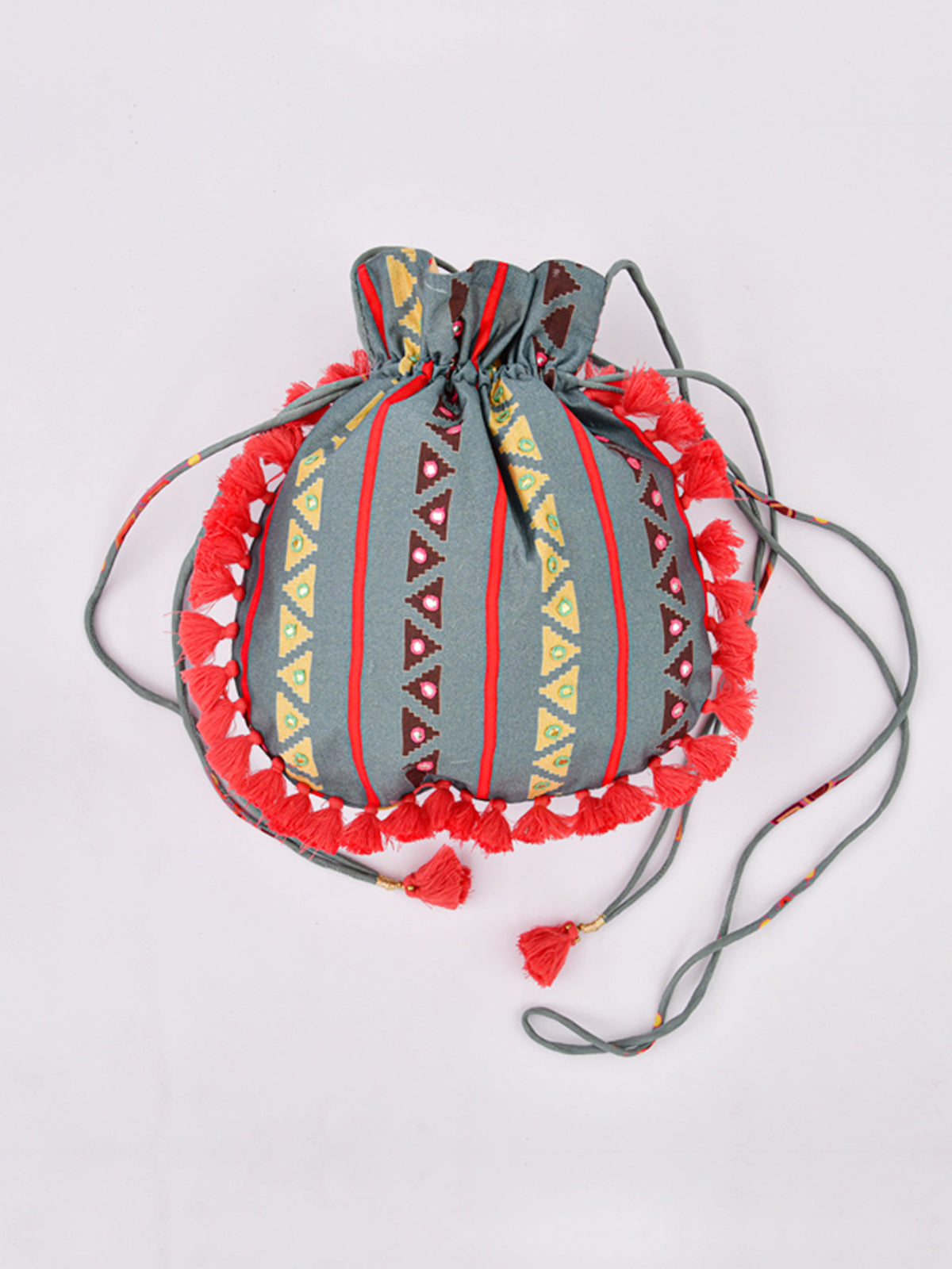 MORBAGH TRIBAL GREY EMBRODERED POTLI BAG WITH TASSELS
