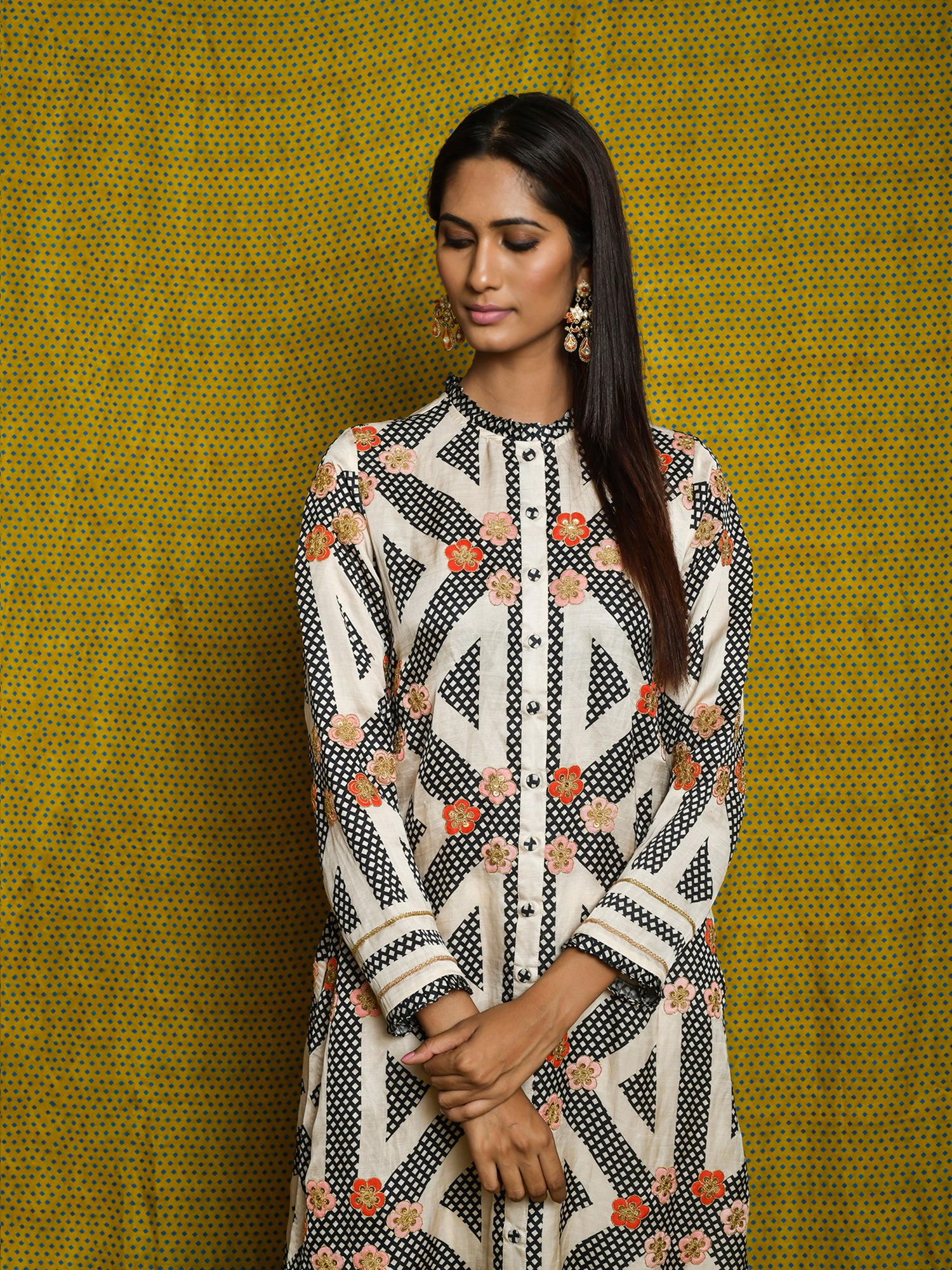 Vintage Garden Monochrome Embroidered Kurta Set