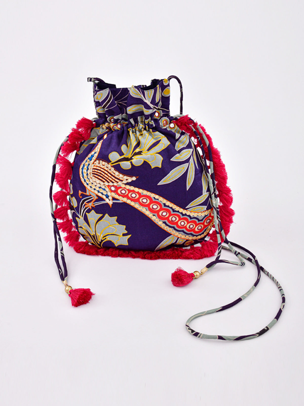 MORBAGH PEACOCK BLUE EMBRODIED POTLI BAG WITH TASSELS