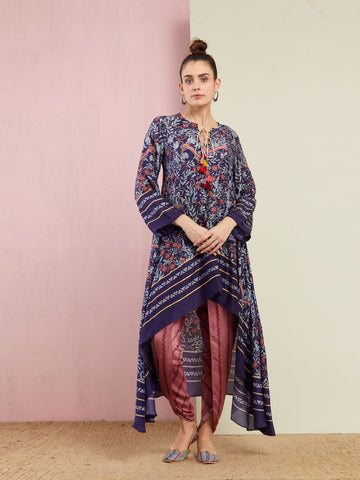 GREY MULTI TRIANGLE EMBROIDERED FRONT OPEN KURTA WITH PANTS