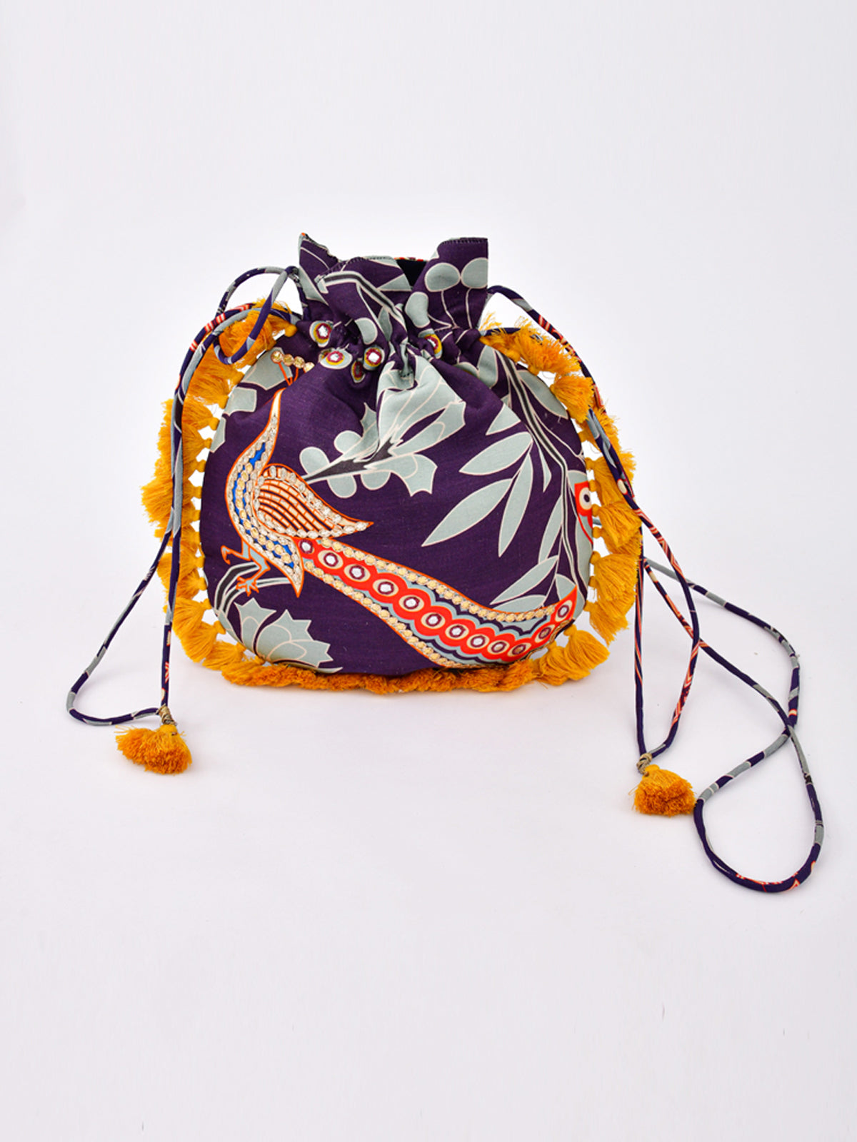 MORBAGH PEACOCK BLUE  EMBRODIED POTLI BAG WITH YELLOW TASSELS