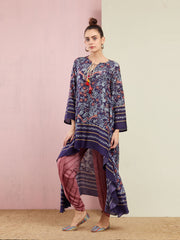 MOR NAVY ASYMMETRICAL EMBROIDED TUNIC