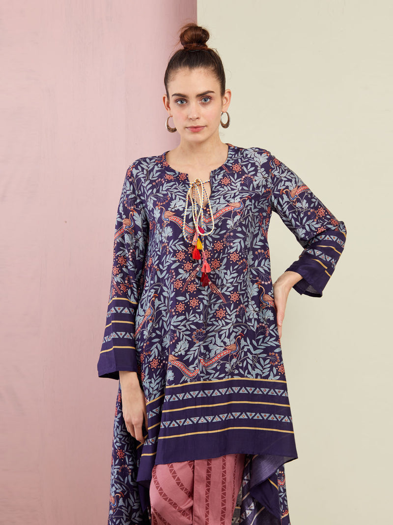 MOR NAVY ASYMMETRICAL EMBROIDERED TUNIC