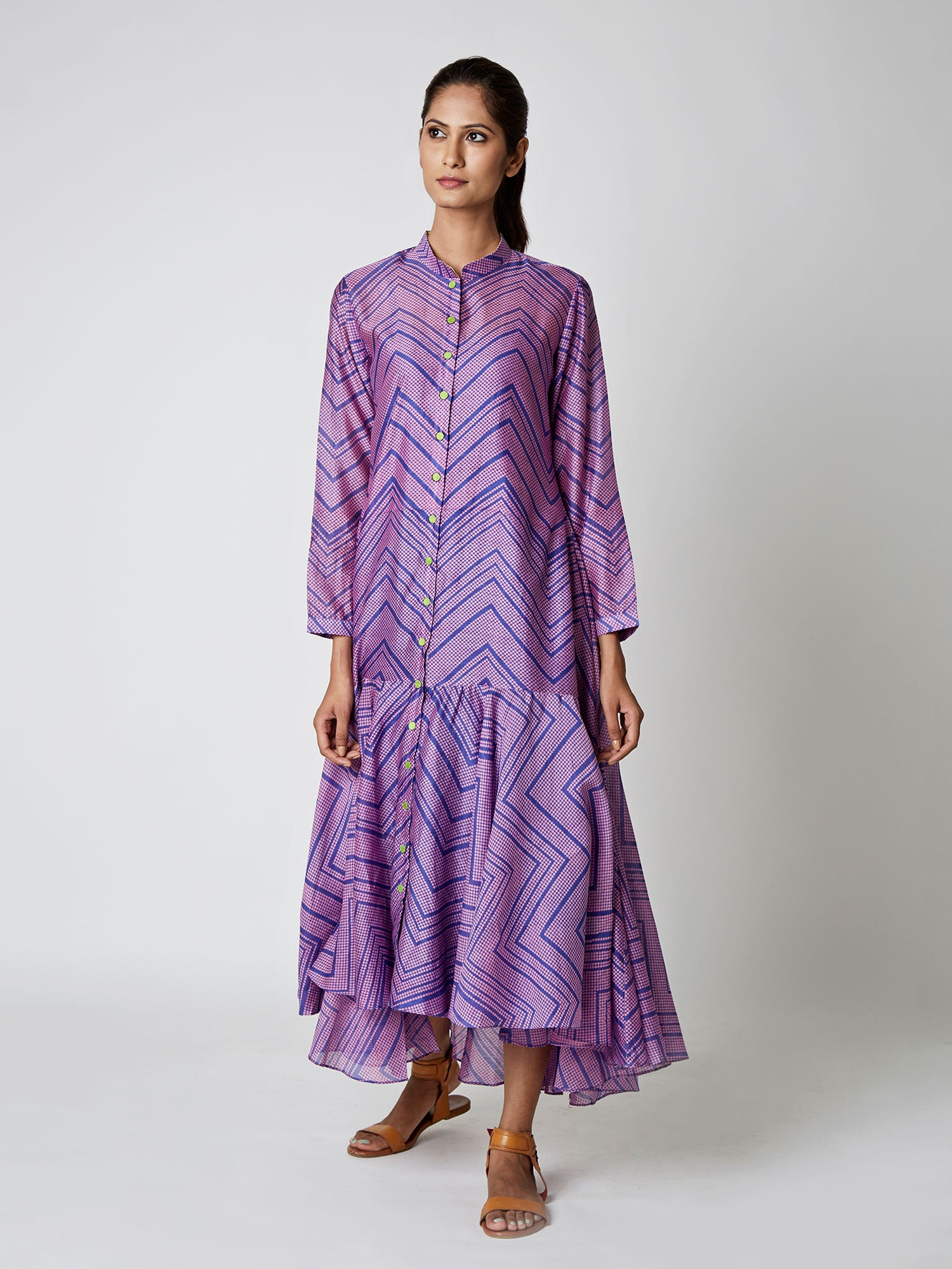 Purple Bundi Chanderi Asymmetrical Dress