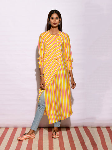 In Bloom Yellow Stripe Drape Tunic