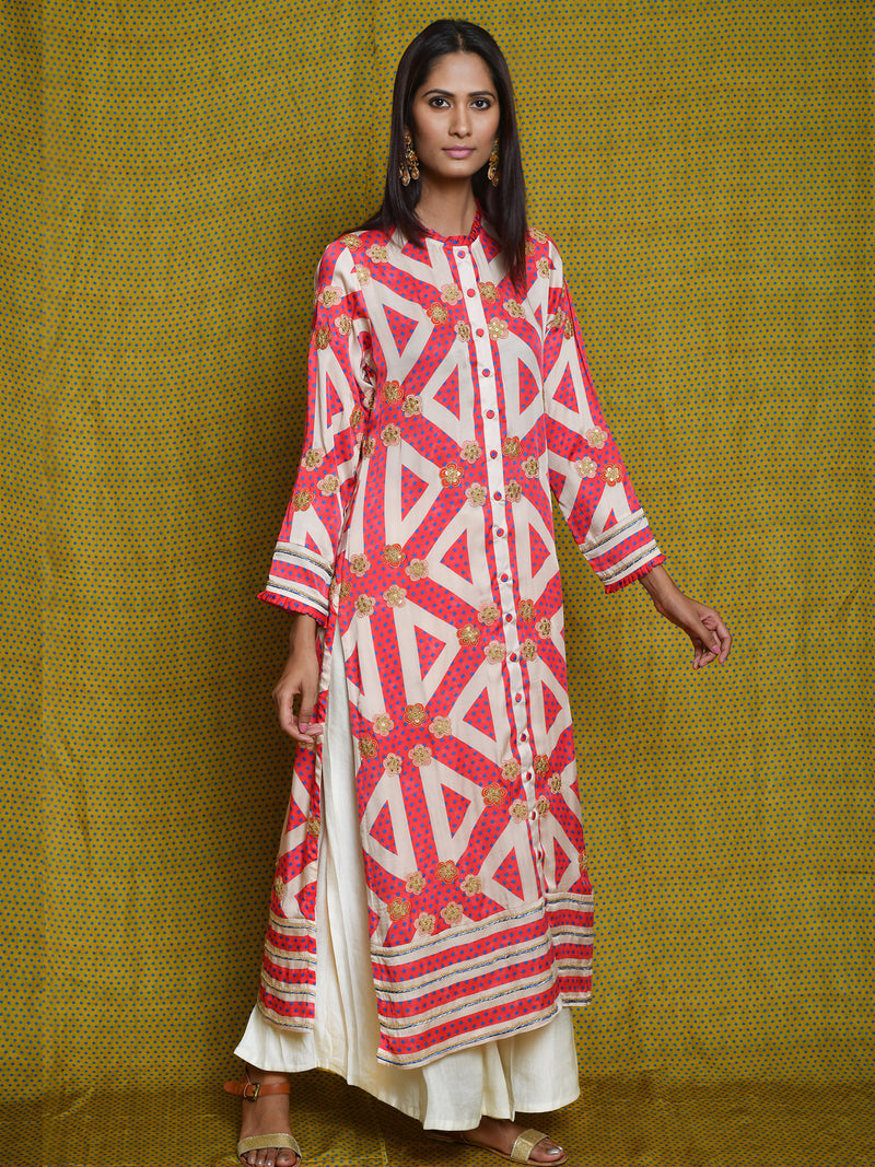 Scarlet Embroidered Kurta Set