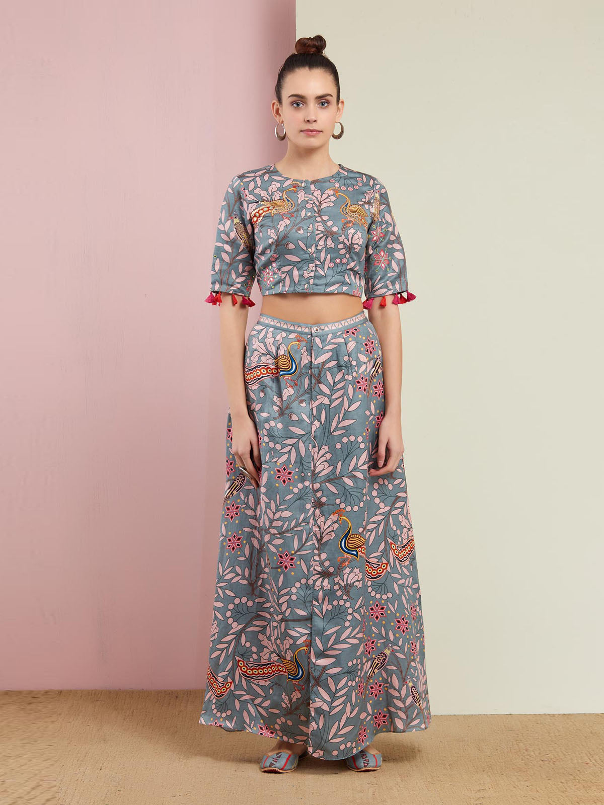 MORBAGH GREY PRINTED EMBROIDED CROP TOP WITH WRAP PANTS