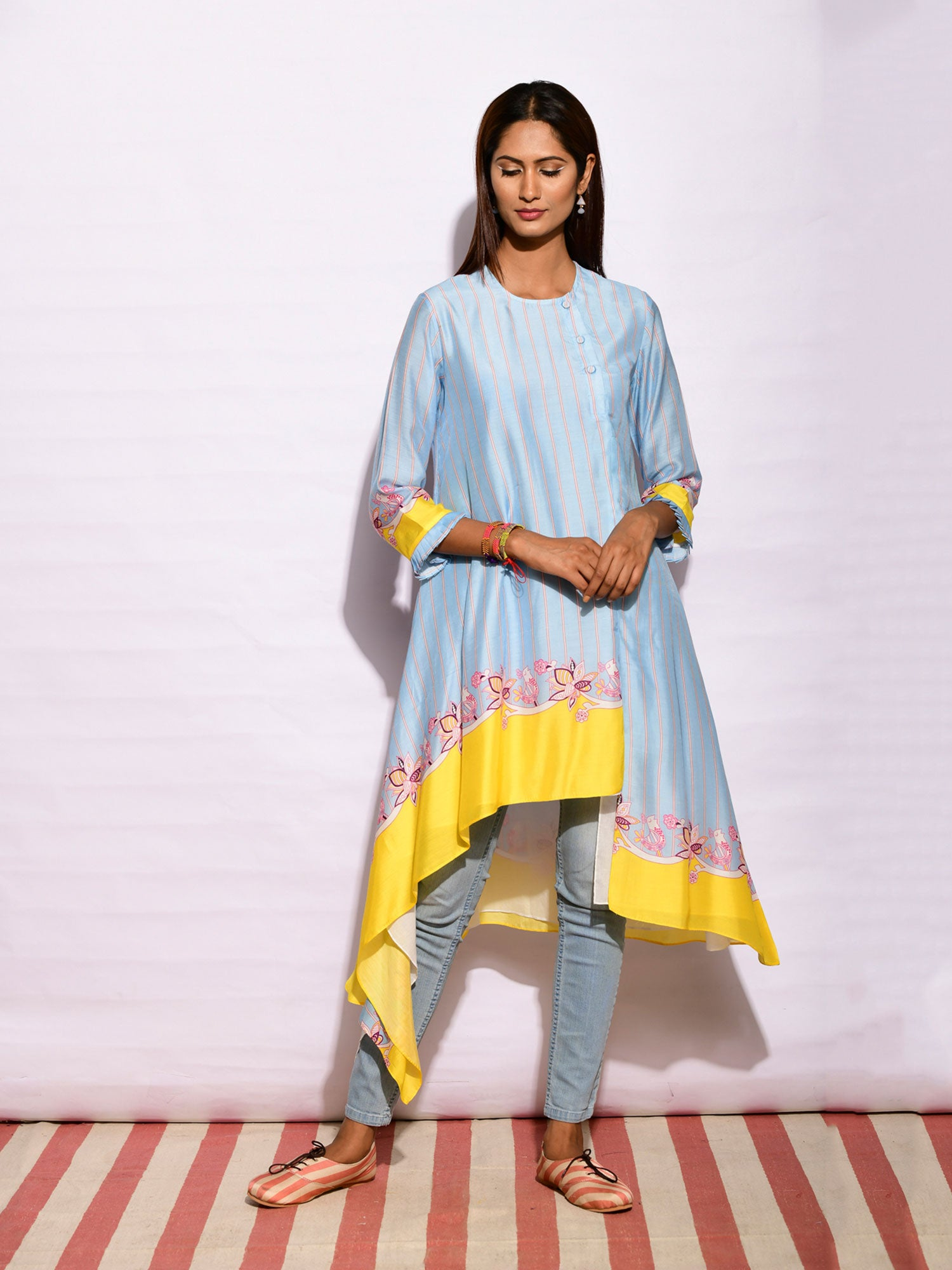 In Bloom Aqua Asymmetrical Tunic