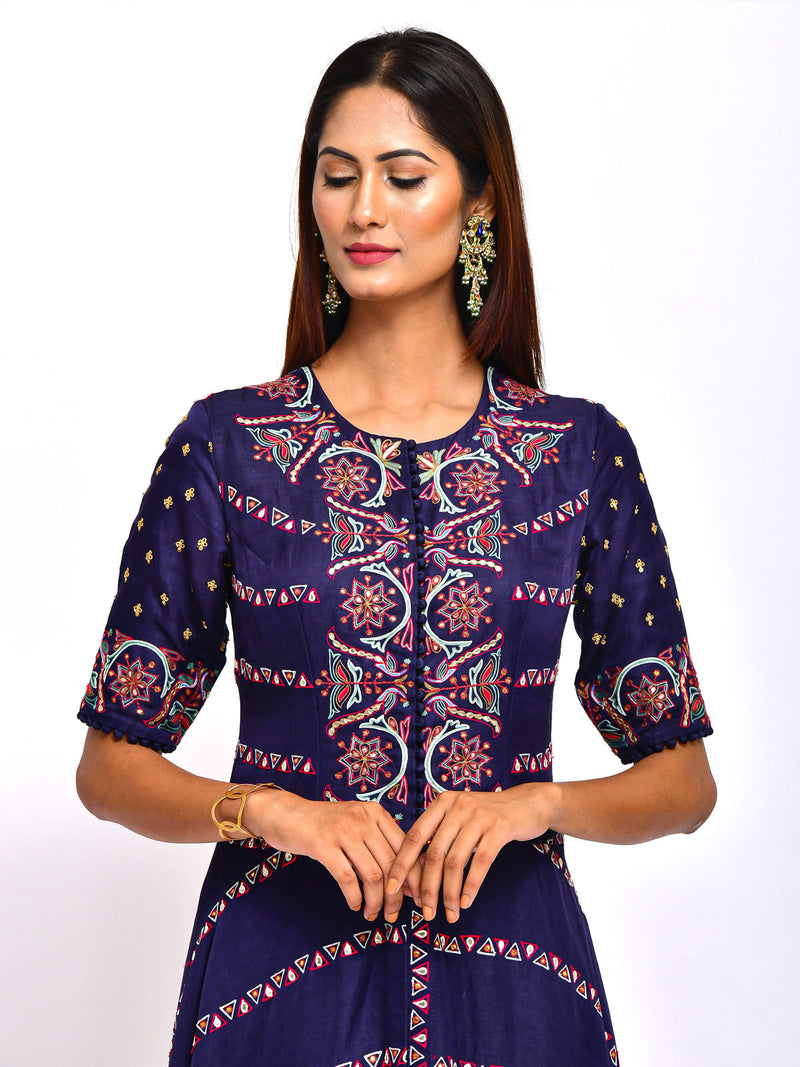 MORIYA EMBROIDERED KURTA WITH DHOTI PANTS