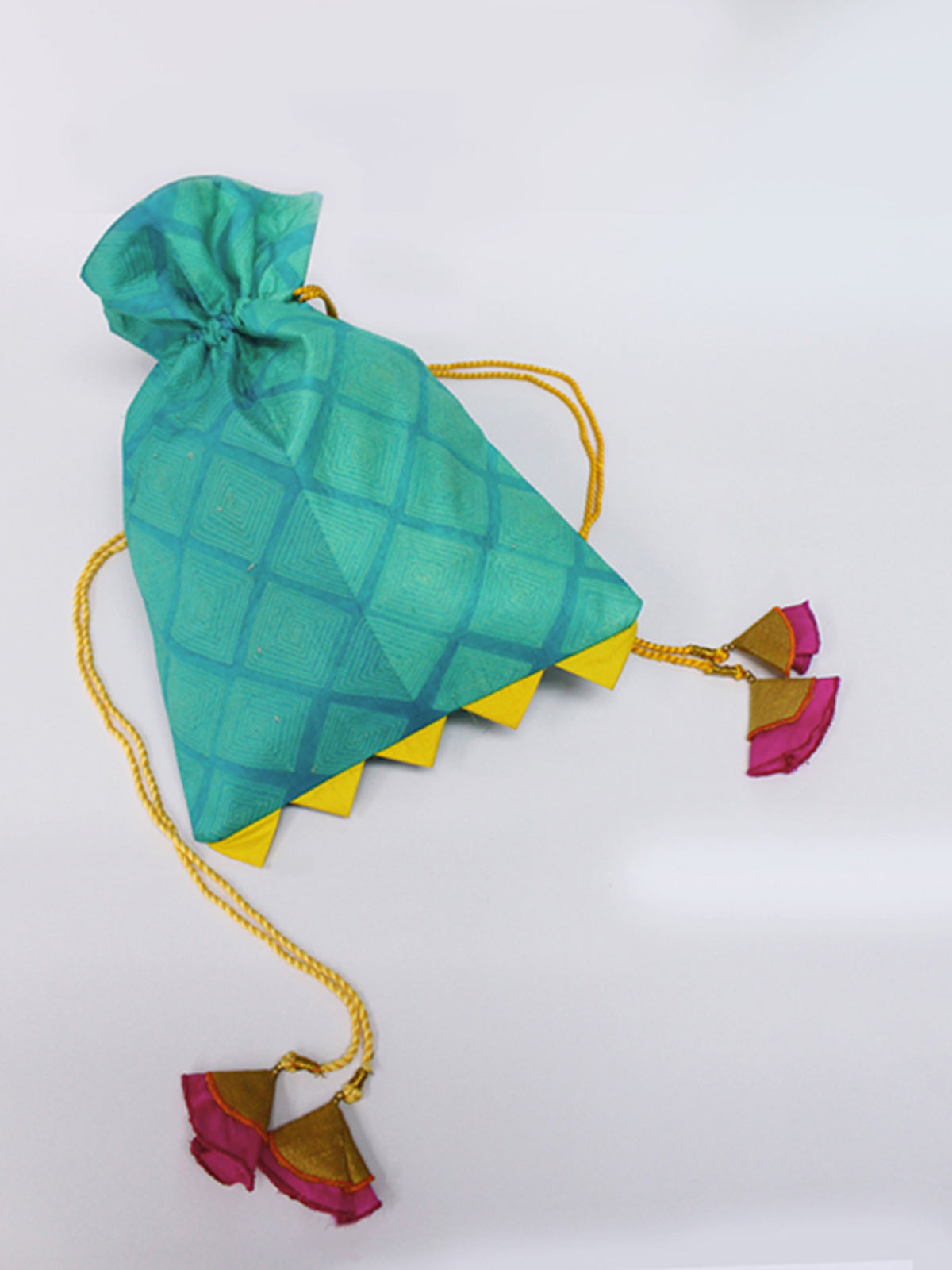 SEA GREEN SHIBORI POTLI BAG