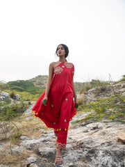 MORBAGH RED embroided asymmetrical one shoulder cape with pants