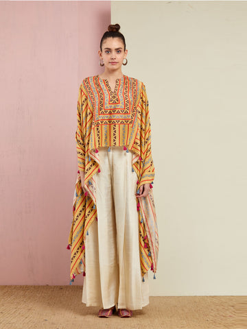 YELLOW TRIBAL CAPE WITH