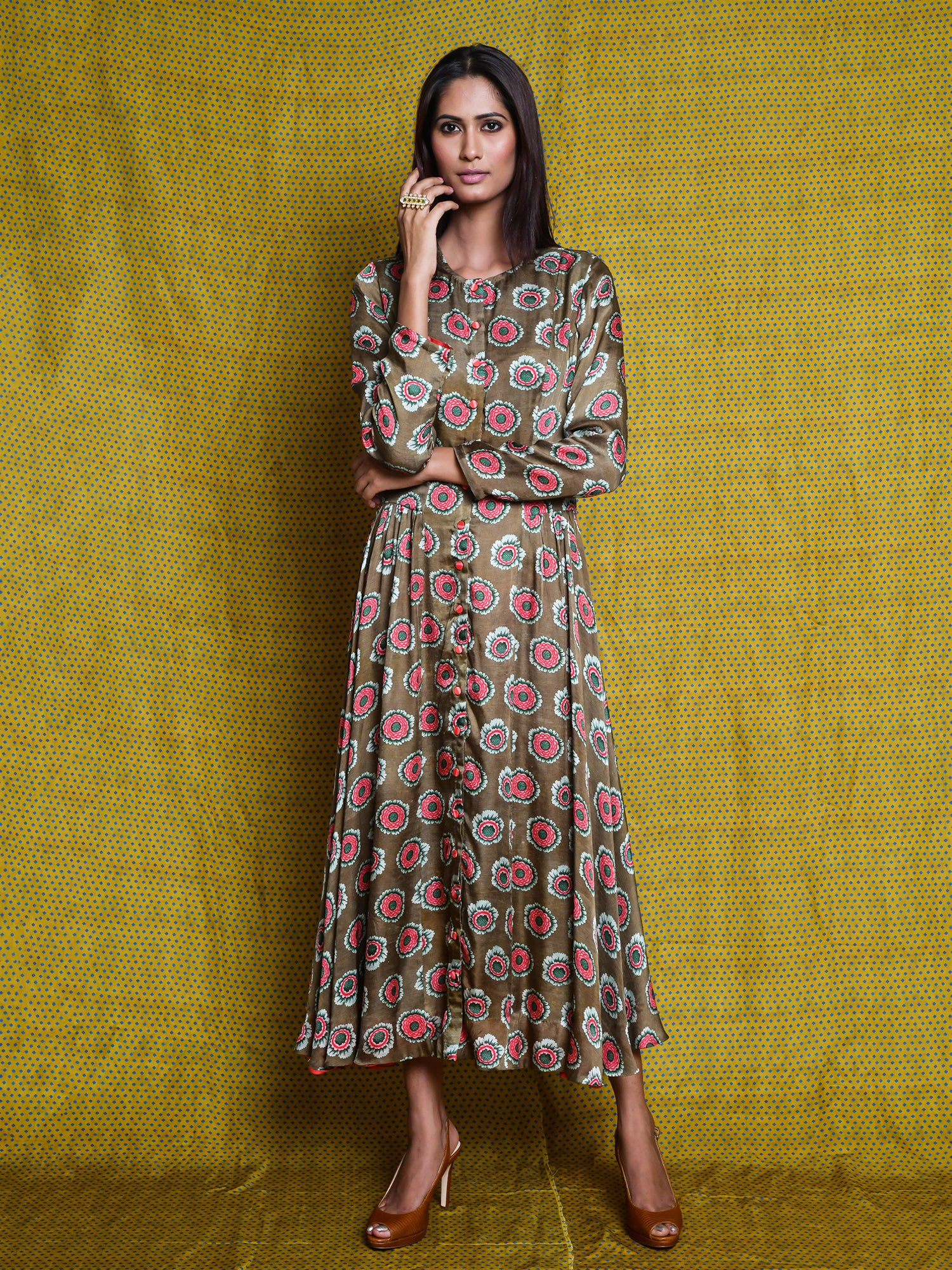 vintagegarden, dress, tunic, kurta, indianapparel, indianfashion, silk, satindresses, printeddress, swativijaivargie