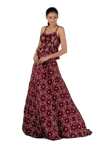 Bundi printed  singlet and lehenga